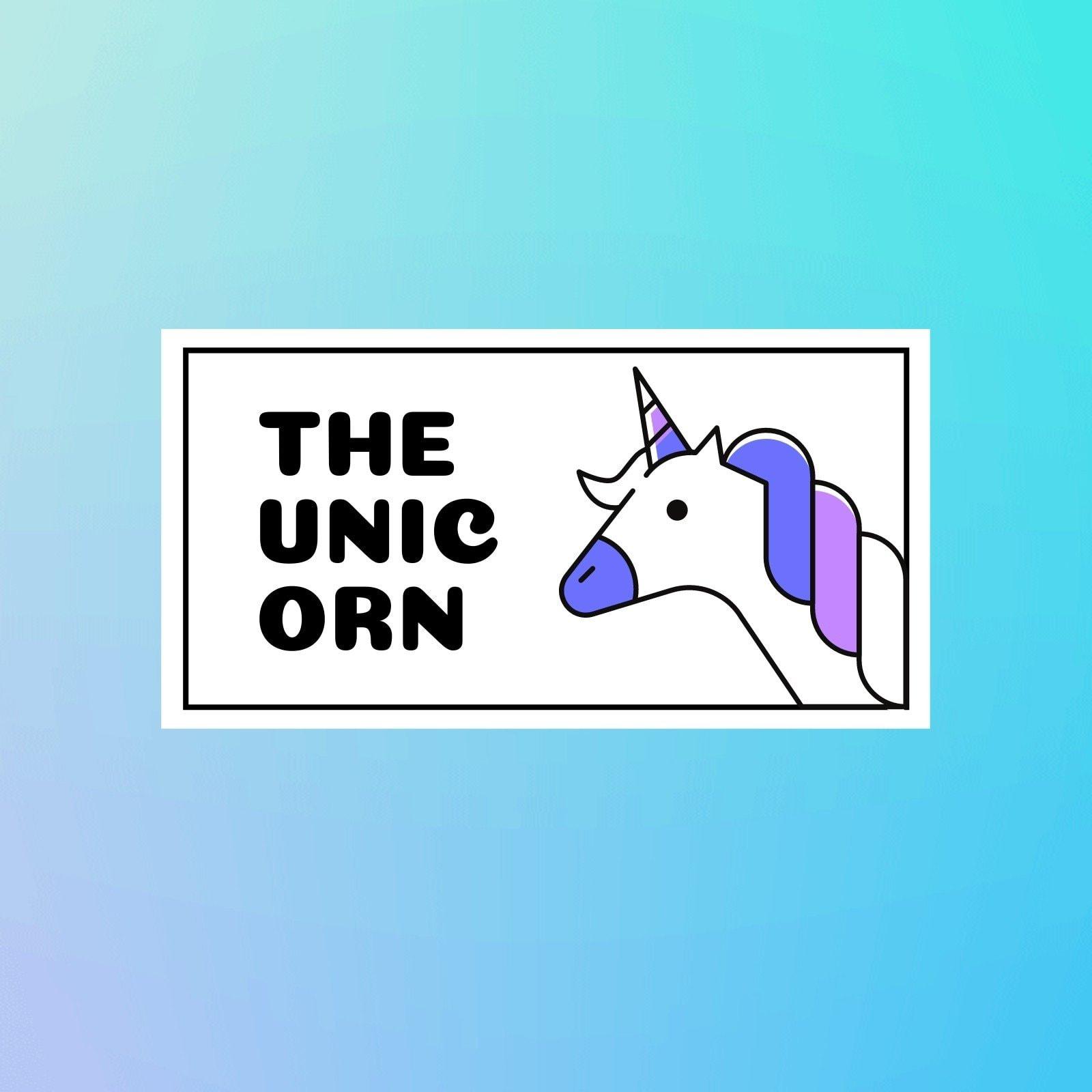 蓝紫色动态可爱独角兽logo卡通服饰宣传英文logo