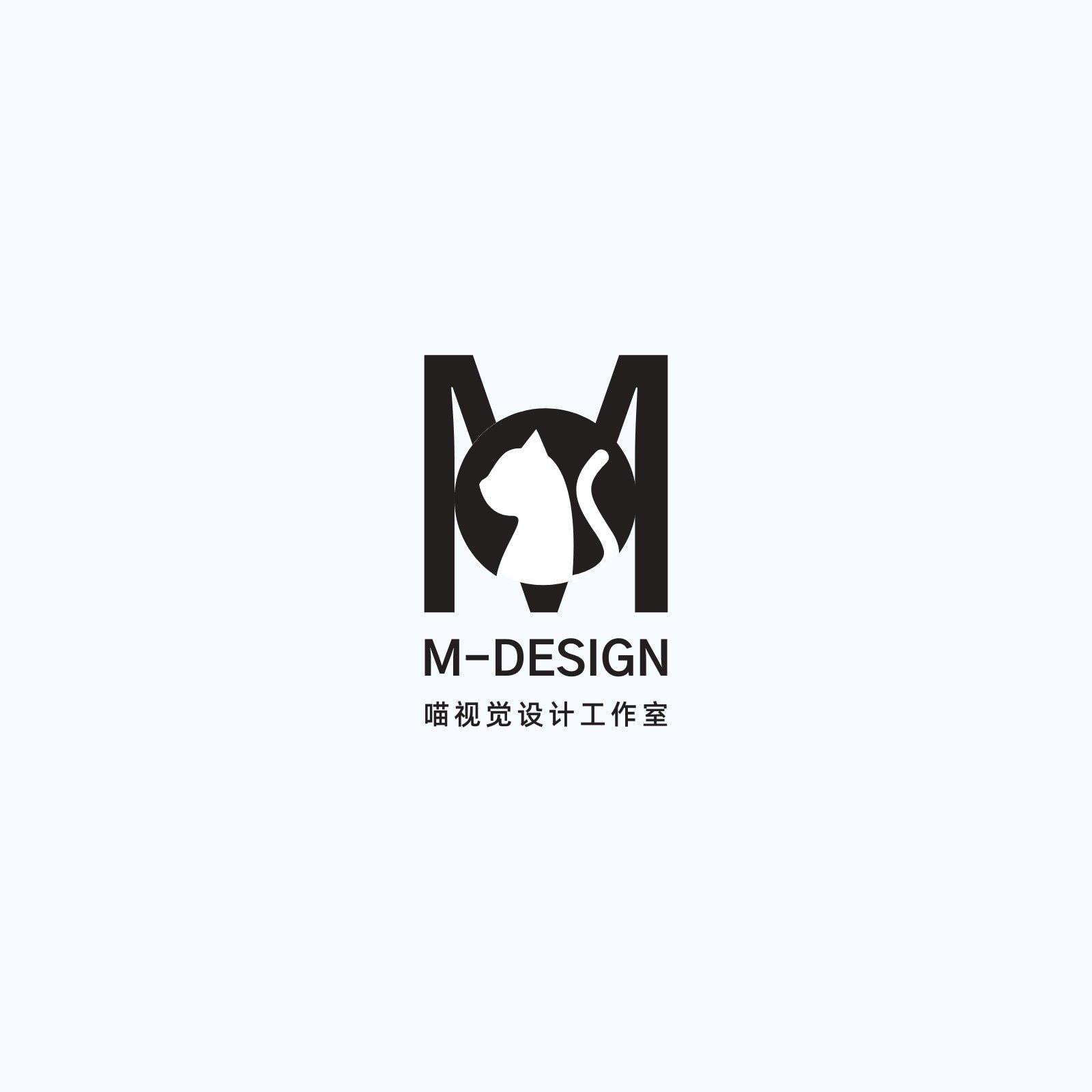 黑色字母猫咪头设计公司logo创意艺术中文logo