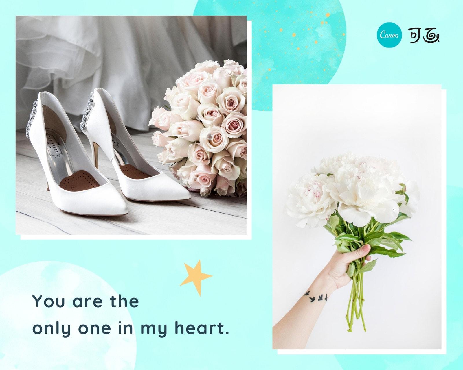 蓝白色文艺浪漫ins风婚礼清新婚礼分享英文拼图
