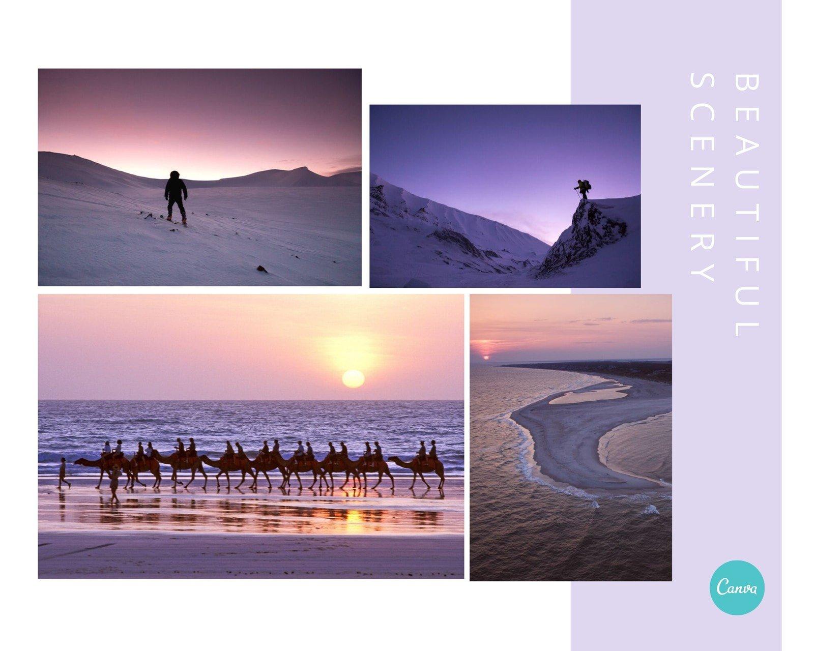 紫色风景简洁旅游分享英文拼图