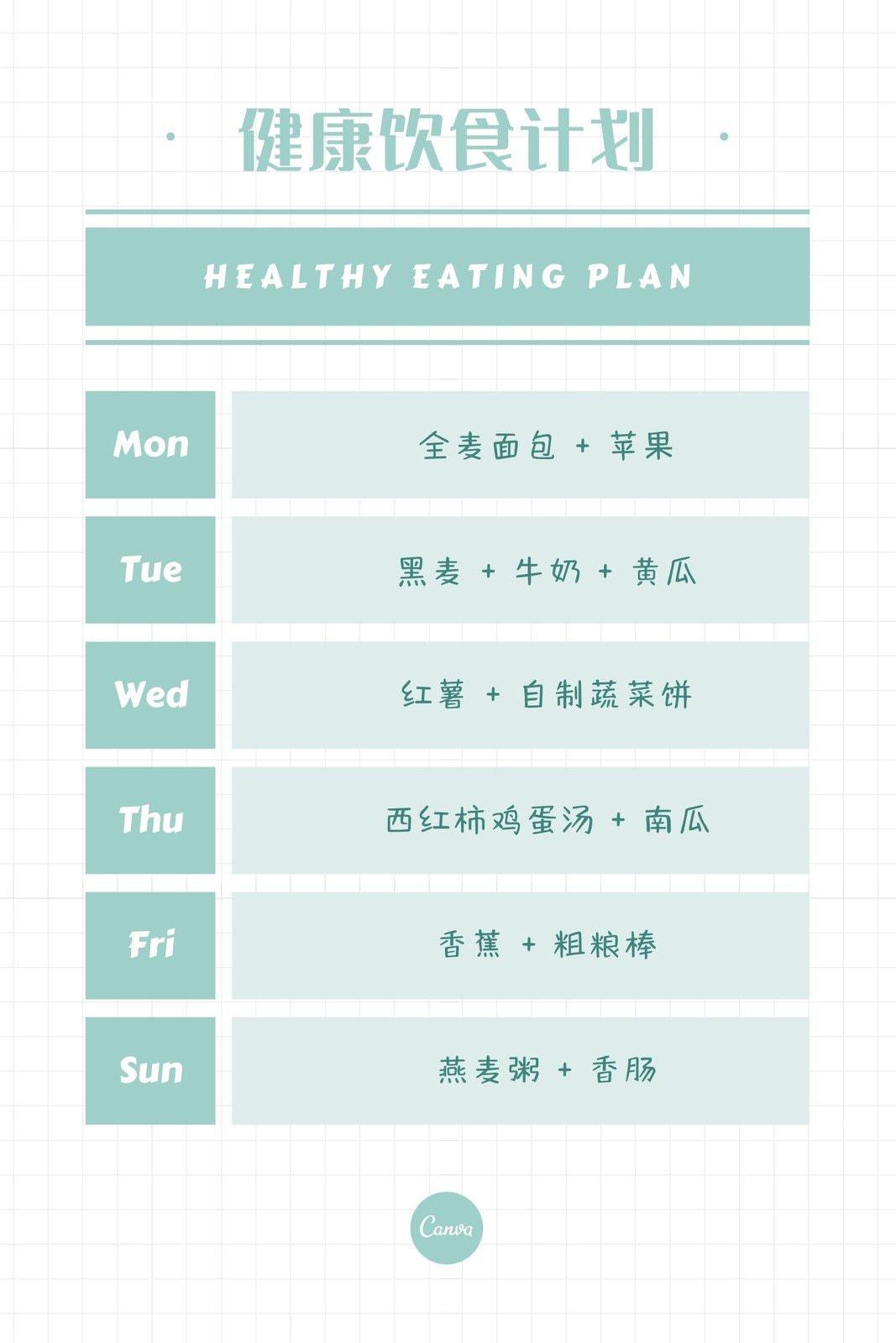 白绿色绿色表格计划表简约个人分享中文计划表